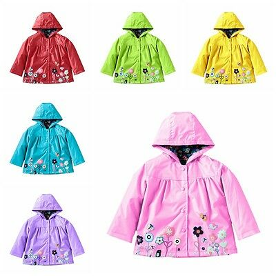 Hot Kids Girls Hooded Waterproof Jacket Coat Cute Outerwear Raincoat Windbreaker