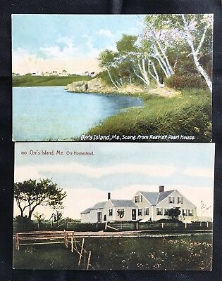 ORR'S ISLAND ME 2 ANTIQUE POSTCARDS c1915 ORR HOMESTEAD SCENE FROM PEARL HOUSE