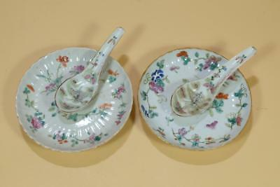 Pair Chinese Famille Rose Porcelain Dishes And Spoons.