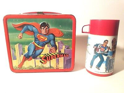 Vintage Superman the Movie Steel Lunch Box Aladdin 1978 Complete w/ Thermos