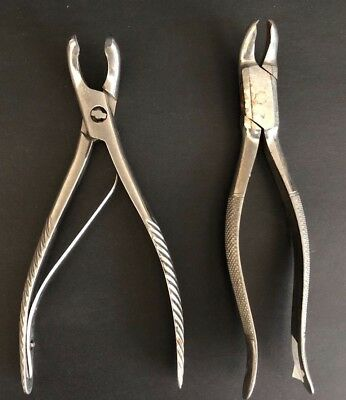 Lot of two Silver tone Vintage Dentist Tooth Extractor Pliers Tools