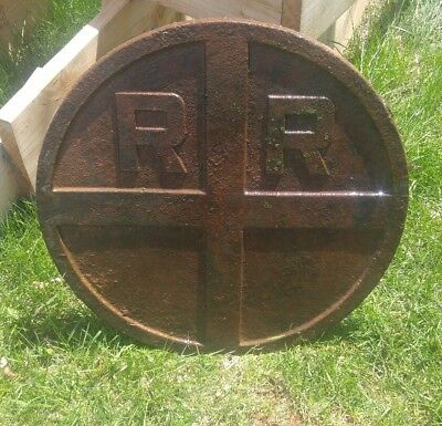 000 Antique Cast Iron Railroad Crossing Sign Heavy 2 Feet Across Round