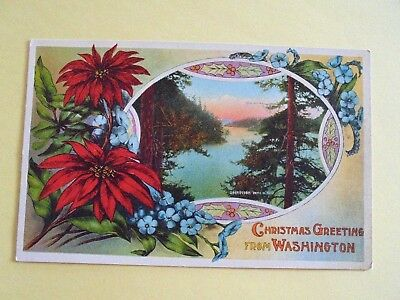 1915 Color Christmas Greetings From  Deception Pass---Washington State.