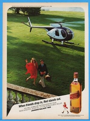 1986 Johnnie Walker Red Private Helicopter Estate When Friends Drop In Print Ad