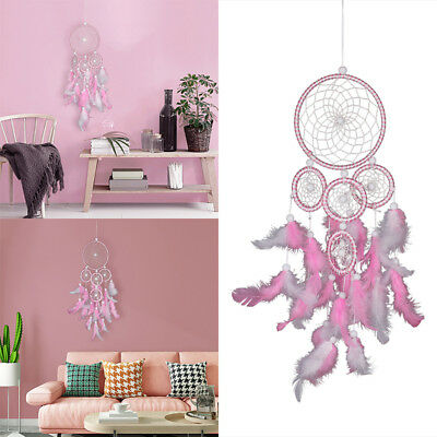 Handmade 5 Ring Pink Dream Catcher Wall Hanging Decor Ornament Feather Craft