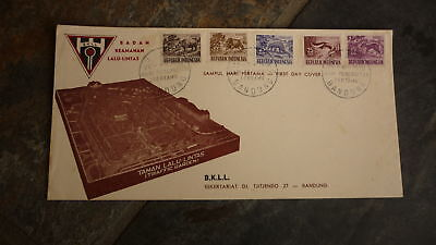 Old Indonesia Stamp Issue Fdc, 1956 Indonesian Animals Set Of 5 Stamps 2