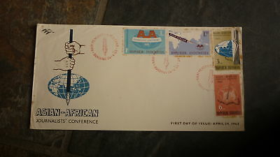 Old Indonesia Stamp Issue Fdc, 1963 Asian Arfican Journalists Set Of 4 Stamps