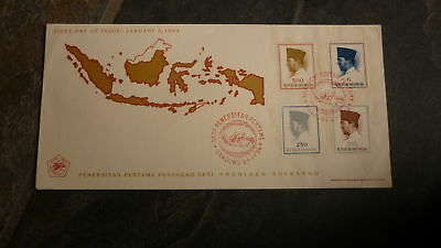 Old Indonesia Stamp Issue Fdc, 1964 President Soekarno Set Of 4 Stamps