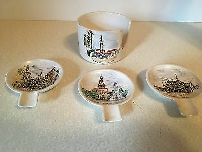 Vtg Vincenza Ceramic Personal Ash Trays and Holder SOUVENIR Made in Italy