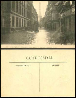 PARIS FLOOD 1910 Old Postcard Rue Saint-Dominique Tour Eiffel Tower Boat L.L.209