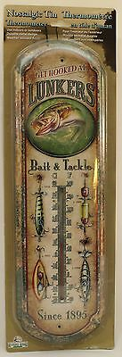 LUNKER'S BAIT & TACKLE TIN THERMOMETER Fishing Angler Metal NEW Camp Cabin Lodge