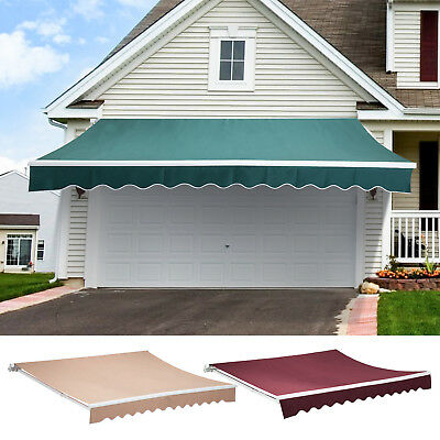Patio Manual Retractable Deck Awning Sun Shade Shelter Canopy Outdoor Multi Size