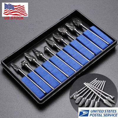 10pcs Tungsten Steel Dental Burs Lab Burrs Tooth Drill For handpiece Polisher