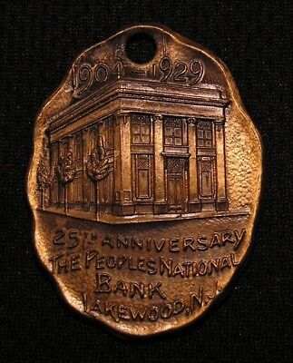 1929 THE PEOPLES NATIONAL BANK KEY CHAIN FOB IF FOUND RETURN - LAKEWOOD NJ Medal