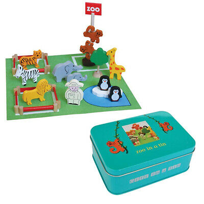 ZOO IN A TIN - Apples to Pears - Kids Wooden Animal Toys Gift Play Set **NEW**