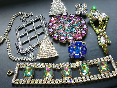 1960s NICE VINTAGE  ANTIQUE CZECH RHINESTONES LOT OF JEWERLY MIX *SIGNED*   T424