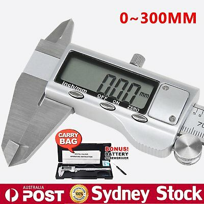 Vernier Caliper Digital LCD Gauge Electronic Stainless Steel Micrometer 300mm #T