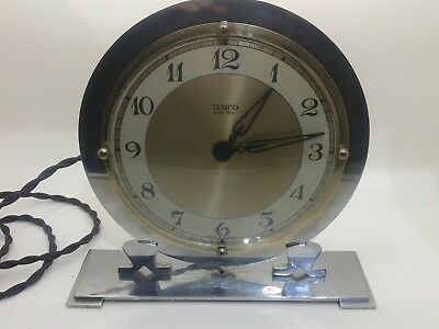 Superb Temco Black Faced & Chrome 1930 Art Deco Electric Mantle Clock