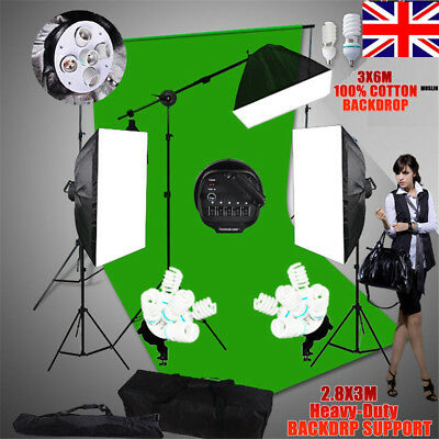 1&5 Head Photo Softbox Lighting Stand Boom Arm KIT+Green Screen Backdrop Support