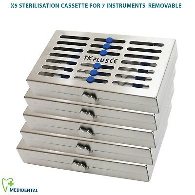 5 Sterilization Cassettes for 20 ,10, 7 & 5 Instrument Removable+ Slim Rack Hold