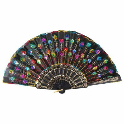 Ladies Handheld Chinese Folding Fan Vintage Peacock Feather Fan Dancing Party US