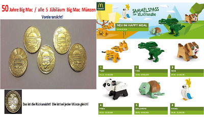 McDonalds MacCoin Complete Set - 50 Years of Big Mac = 5 Coin + 6 stk. Figuren