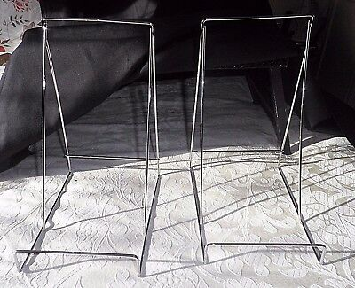 2 Very Large Book / Picture / Plate Stands - Chrome - Top Quality