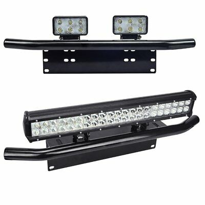 Black Bar Front Bumper License Plate Mount Bracket Off-Road LED Light Holder