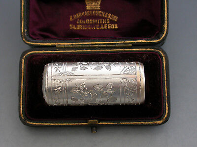 Victorian Silver Rose Engraved Scent Bottle. By George Heath, London, 1884.