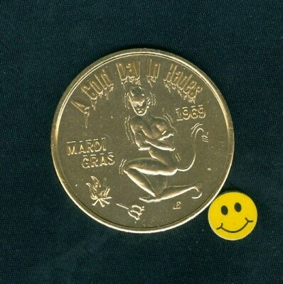 DEVIL A Cold Day in Hades Gold Alum. New Orleans Mardi Gras Doubloon Coin 1969