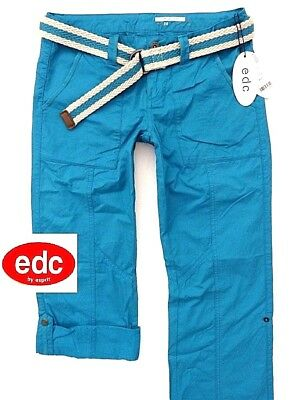 NEU EDC ESPRIT PLAY TURN UP DAMEN CARGO HOSE + GÜRTEL XS 34 REGULAR TÜRKiS  BLAU 33840ed1e9