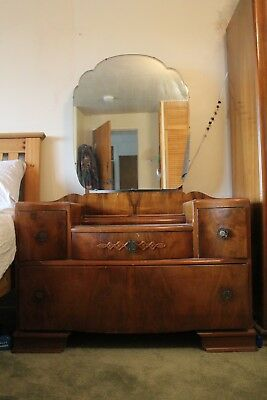 Retro vintage wood Bedroom Dressing unit with 4 drawers & mirror