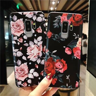 For Samsung Galaxy S9 S8 Plus Shockproof Flower Pattern Soft TPU Slim Case Cover