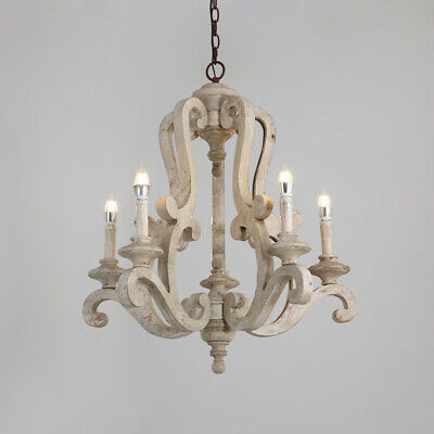 Distressed White Candelabra Ceiling Chandelier Light Fixture with Scrolled Arms