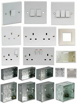 Light Switch Plug Socket Face Plate Box Electrical Triple Double Single Metal