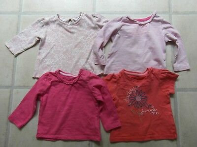 BABY GIRL 3-6 Months:  4 x TOPS - PINK, RASPBERRY & PEACHY ORANGE - MOTHERCARE