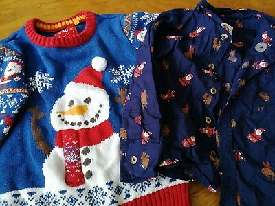 Boys Christmas Jumper and shirt for 2-3 year old