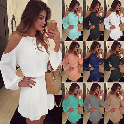 AU Womens Cold Off Shoulder Chiffon Hollow Out Long Sleeve Club Party Mini Dress