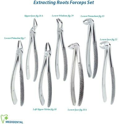 7 Extracting Tooth Forceps Lower Upper,Left Right Molars Extractive Oral Surgery