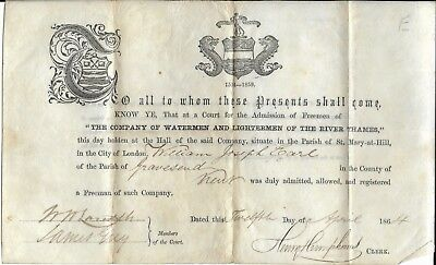 """Victorian Document Related to""""The Company of Watermen and Lightermen on the Tham"""