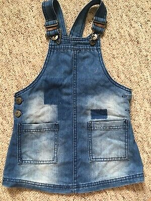 NEXT Girls Denim Dungaree Pinafore Jeans Dress Cleo Blue 1.5 - 2 Years