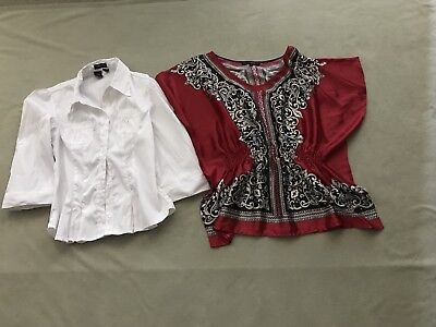 Lot Of 2 Womens Size L Blouses Nice Cotton Express, Heart Soul