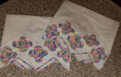 LOVELY Vtg Pair Of HAND EMBROIDERED~CROCHETED White Cotton PILLOW CASES!