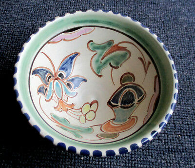 Attractive vintage Honiton pottery hand painted small bowl 4.3/4 inches diameter