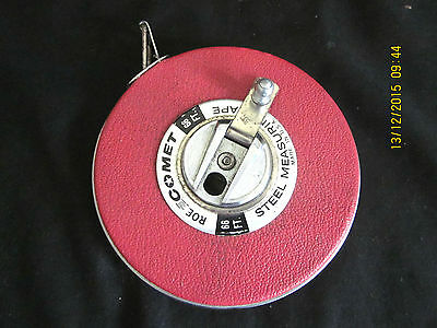 ~Vintage Comet Roe Steel Measuring Tape - Made In U. S. A. - 66 Foot~