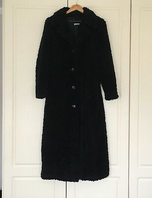 Vintage 1980s Long Black Teddy Bear Fleece Coat Full Length Gothic C&A Fit 10 12