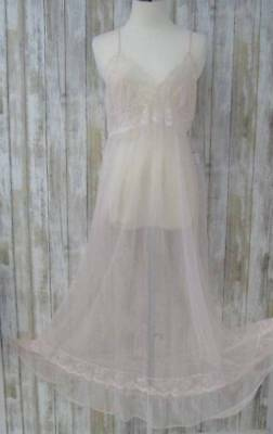 Vintage Sexy Chiffon Nylon Gown Medium Pink Frederick's of Hollywood Sheer Pink