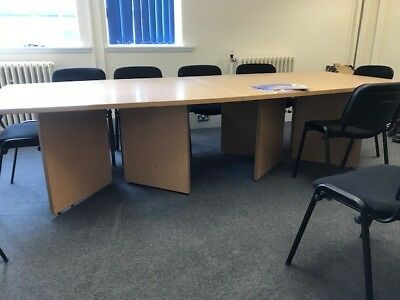Beautiful large wooden boardroom table with 10 chairs