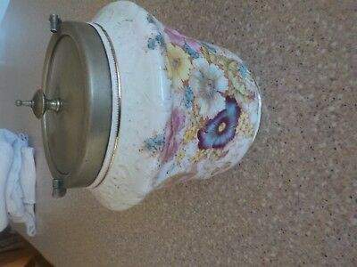 Biscuit Barrell   With Lid  Beautiful Pattern 17Cm High 16Cm Diam