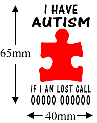 AUTISM AUTISTIC ..EMERGENCY Phone Number Temp Tattoo X 2  Kids or Adults